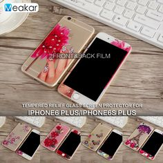 3D Relief Rhinestone 5.5for Apple iPhone 6 plus iPhone6 plus Case Tempered Glass Film Screen Protector For iPhone 6 plus Phone