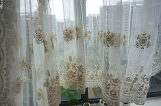 Cream Lace Fabric  Retro Embroidered Lace Fabric by lacetime