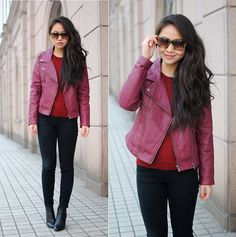 Burgundy leather jacket (by Meijia S) http://lookbook.nu/look/4601093-burgundy-leather-jacket