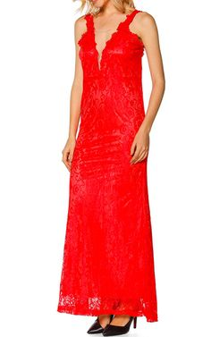 Red Lace Maxi Dress by Jane via @bestmaxidress