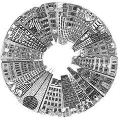 Debra Ellinger, pen & ink, circle city, one point perspective. High School Art, Middle School Art, Perspective Drawing, Point Perspective, Zentangle Patterns, Zentangles, Art Graphique, Pen Art, Mandala Art