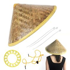 Lot of 10 Vietnamese Asian oriental straw bamboo viet cong conical palm leaf hat