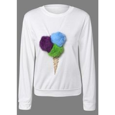 Pompon Embellished Sweatshirt (£13) ❤ liked on Polyvore featuring tops, hoodies, sweatshirts, embellished tops, embellished sweatshirt and decorated sweatshirts