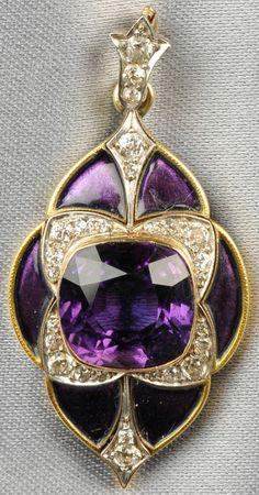 Edwardian Era jewelry: Gold, amethyst, enamel, and diamond Pendant, Marcus & Co. Purple Jewelry, Amethyst Jewelry, I Love Jewelry, Fine Jewelry, Jewelry Design, Geek Jewelry, Jewelry Necklaces, Jewlery, Edwardian Jewelry