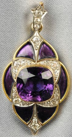 Edwardian 18kt Gold, Amethyst, Enamel, and Diamond Pendant, Marcus & Co., of navette form, bezel-set with a cushion-cut amethyst, old European-cut diamond accents, and purple enamel reserves, lg. 1 3/8 in., signed.  Via Skinner.