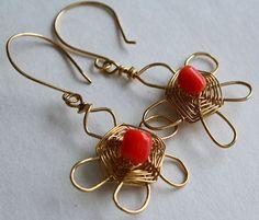 14k gold fill coral flower earrings by Sheny
