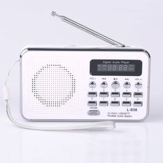 Mfine mini digital Portable Music player Micro sd/tf usb disk Speaker Fm Radio (938 White) >>> Details can be found by clicking on the image.