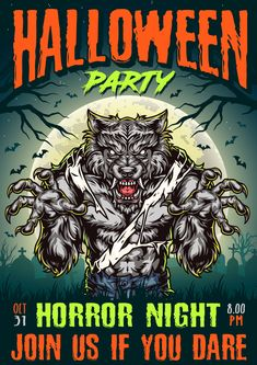 Colorful Halloween party poster vector design with a werewolf created by DGIM Studio.