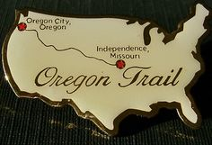 Oregon Trail Pin shows the route from Independence Missouri to Oregon City, Oregon.