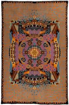 An early century French Art Deco rug having an modern design pattern with abstract curvilinear forms around the center of the in a palette of brown, blue, pink, yellow and orange. Watch full size video of A French Art Deco rug, Circa ID - Video Vintage Interiors, Vintage Textiles, French Art Deco, Art Deco Rugs, Rugs On Carpet, Carpets, Art Deco Furniture, York, Art Deco Design