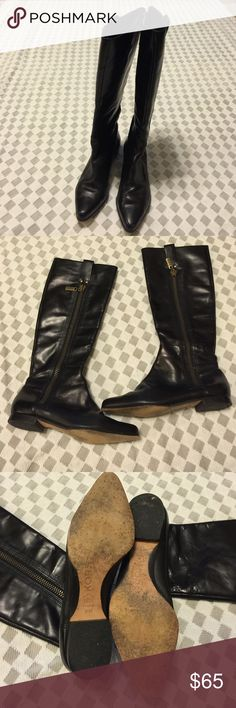 Michael Kors Ladies Black Boots *** Authentic MK knee-high Boots. Pre-Owned but gently worn with normal wear and tear seen in photo # 4. In great condition. No Trades. Michael Kors Shoes Over the Knee Boots