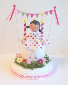 Custom birthday cake - cake topper- clothespin doll