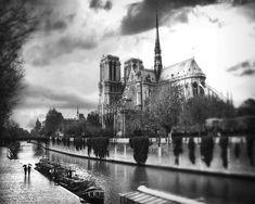 black and white paintings of paris rain | Black And White Paris, Notre Dame de…