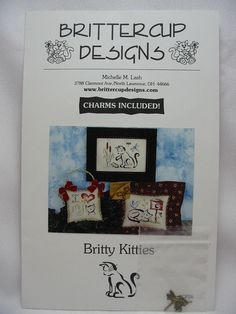 Brittercup Designs #CP26 BRITTY KITTIES Cross Stitch Pattern CATS 2 Charms OOP #BrittercupDesigns #Sampler