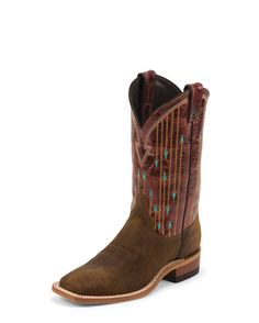 Justin Women's Brown Bent Rail Boots with Brown Pattern Top - HeadWest Outfitters Western Wear, Western Boots, Cute Cowgirl Boots, Cowboy Shop, Justin Brown, Ankle Booties, Grey Booties, Shoe Boots, Women's Boots