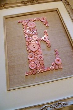 Personalized Baby Girl Nursery Button Art, Kid Wall Art, Pink Button Letter on Antique White Silk, Unique Baby Gift, Girl Nursery Decor - Crafts Cute Crafts, Crafts To Do, Creative Crafts, Decor Crafts, Fish Crafts, Burlap Crafts, Adult Crafts, Bead Crafts, Fabric Crafts