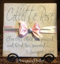 pink & grey baby shower ideas | Beautiful Pink and Gray Baby Decorative Tile | Baby Shower Gifts & ...