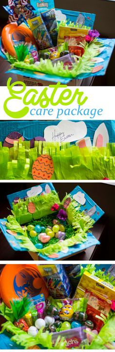 """Send some spring overseas! Ideas for an Easter care package."" This looks like such a fun package!  Who wouldn't love to receive it?! Watch the amount of chocolate as it can melt at its final destination. - MilitaryAvenue.com"