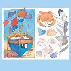 Emma Ball Boat Flag Crab & Shells Card