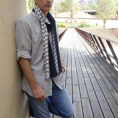Bufanda hombre edición limitada, pieza única Sustainable Fashion, Navy Blue, Scarves, Men