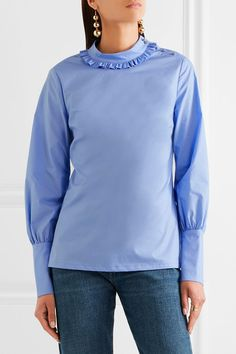 Lela Rose - Ruffled Cotton-poplin Top - Blue