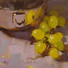 Grape Reflections by Carol Marine (daily painting) Still Life Artists, Still Life Fruit, Fruit Painting, Painting Gallery, Painting Still Life, Traditional Paintings, Small Paintings, Fruit Art, Fantastic Art