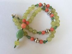 Green Jade Aventurine and Coral Jade Pendant Gem necklace
