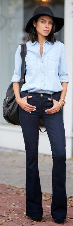 CASUAL FLARE - EXPRESS mid rise slim flare jeans, medium wash denim boyfriend shirt, leather ankle boots / VivaLuxury