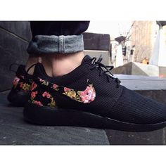 TRIPLE BLACK Floral Nike Roshe Run Custom Black by rixcustoms