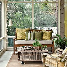 Screened in porches are a weakness. And that coffee table is saying my fav phrase: DIY me!