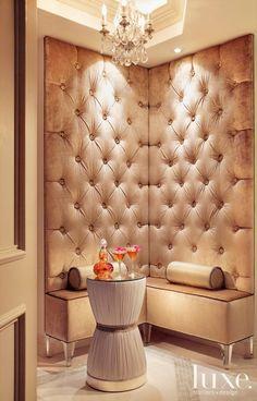 Designer Steven La Fonte custom designed this seating nook, upholstered in champagne velvet from Kravet