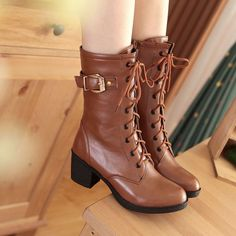 Plus Size Vintage Womens Ankle Boots Lace Up Chunky Heel Zip On Shoes Black