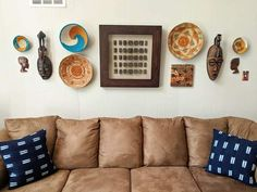 African Culture, African Art, Rental Home Decor, Decorative Walls, African Interior, Bedroom Decor, Wall Decor, Brown Sofa, Large Sofa
