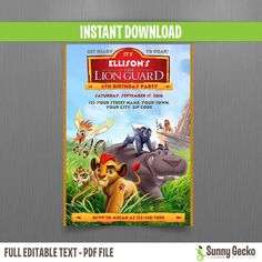 Disney The Lion Guard Birthday Invitation - Instant Download - Edit and print at home with Adobe Reader - Lion Guard Party by SunnyGeckoDesign on Etsy