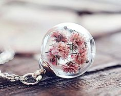 Real Flower Necklace Terrarium necklace Gold Honey Bee by LeChaim