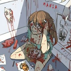 Bloody anime girl gore Guro insane