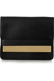 a textured-leather clutch