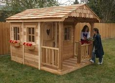 Wooden Pallet Outdoor Living Today Sunflower Playhouse with 3 Functional Window and Cedar Deck Porch - You'll love the Sunflower Playhouse with 3 Functional Window and Cedar Deck Porch at Wayfair - Great Deals on all Baby