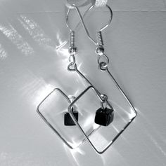 Silvertone Square Wire Earrings  square spiral by TheGlassRobot, $12.00