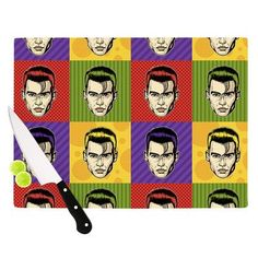 "KESS InHouse Johnny Depop by Roberlan Pop Art Cutting Board Size: 0.5"" H x 1"