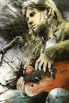 This illustration of Kurt Cobain looks spectacular. Love the dark mood.