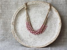 Dusty rose pink necklace Natural linen necklace with by boorashka,
