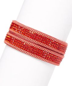 Red Leather City Lights Bracelet