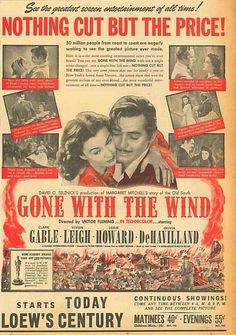 Gone With The Wind Original Advert 24 January 1941 Clark Gable Vivien Leigh B2
