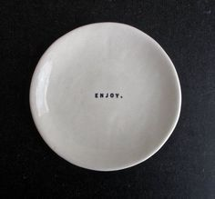"'Enjoy' Porcelain dish by Raedunn, via etsy #Raedunn #Porcelain #Enjoy The new ""red plate"""