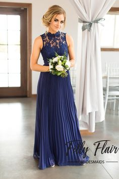Dazzle the guests at your amazing wedding with this beautiful navy and lace bridesmaid dress! Our Alexa full length bridesmaid dress has so many beautiful and elegant features; gorgeous lace top follo
