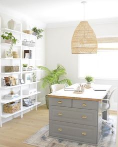 Looking for ways to keep your home office organized? From DIY shelving to document organizers, check out these home office storage and organization ideas! Office Organization At Work, Home Office Storage, Home Office Design, Home Office Decor, Home Decor, Office Ideas, Small Office Decor, Modern Office Decor, Home Office Lighting