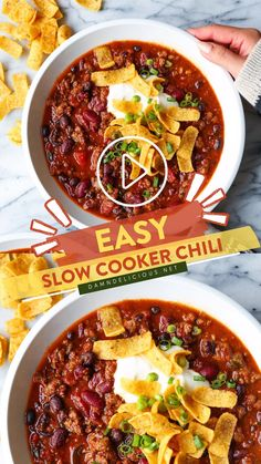 Slow Cooker Chili, Canning Crushed Tomatoes, Drink Recipe Book, Chili Recipes, Mexican Food Recipes, Crockpot Recipes, Homemade Chili, Corn Chips, Canned Black Beans