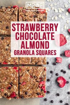 Strawberry Chocolate Almond Granola Squares - Meal Prep on Fleek™ Freeze Dried Strawberries, Chocolate Strawberries, Vegan Snacks, Snack Recipes, Healthy Snacks, Dinner Recipes, Healthy Recipes, Keto Recipes, Toasted Oats