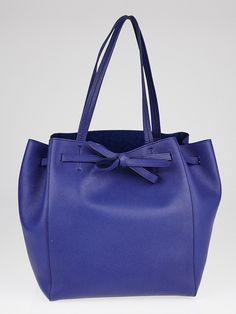 Celine Indigo Blue Pebbled Leather Cabas Phantom Tie Small Tote Bag
